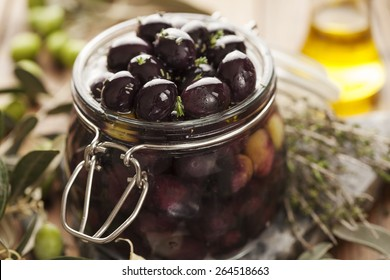 jar with pickled kalamata olives