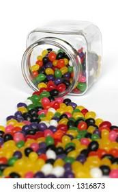 Jar spilling candies