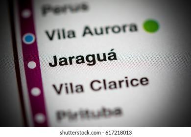 Jaragua Station. Sao Paolo Metro map.