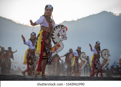 Jaranan, a traditional Javanese dance that appears on the street during a cultural festival. bromo, probolinggo, East Java, Indonesia. july, 13, 2019