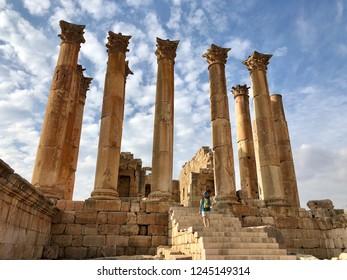 JARASH, JORDAN - NOVEMBER 21, 2018: The Temple of Artemis in the ancient Roman city of Gerasa in Jarash, Jordan.