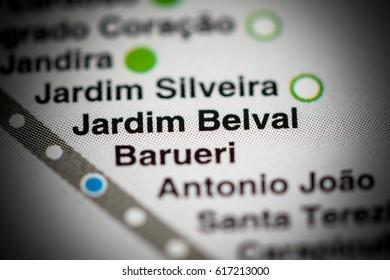 Jardim Belval Station. Sao Paolo Metro map.