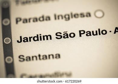 Jardim Sao Paulo Station. Sao Paolo Metro map.