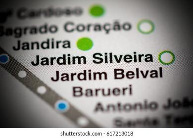 Jardim Silveira Station. Sao Paolo Metro map.