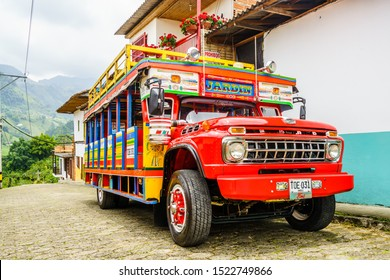 Jardin, COLOMBIA - 27th March 2019. Colorful traditional rural bus in Colombia called chiva