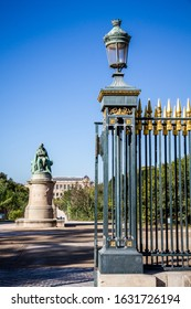 Jardin des plantes Park entrance and Lamarck statue, Paris, France