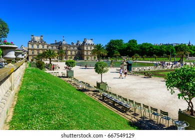 Jardin du Luxembourg (Luxembourg Garden) in Paris, France. Architecture and landmarks of Paris. Postcard of Paris