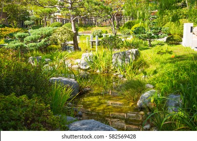 Jardin Japonais view with residential buildings at the background. Monaco, Monte Carlo