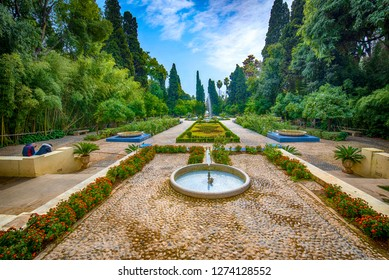 Jardin Jnan Sbil or Bou Jeloud Gardens in Fes in Morocco, The beautiful garden in Fez which always covered by the colourful flowers. Ancient city Royal park near old Medina with green trees