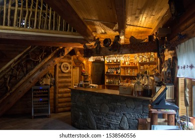 Jaremche/Ukraine - October 20 2019: Beautiful vintage wooden interior. Decorative product. Hand made.