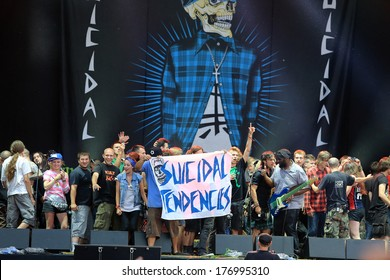 JAROCIN, POLAND- JULY 20: Suicidal Tendencies at live concert. The audience came on stage and sing along with the band. Rock Festival Jarocin 2013, Poland