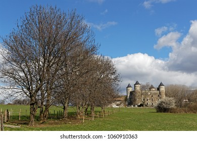 JARRIE, FRANCE, April 1st, 2018 : The castle of Bon Repos is a former strong house of XV century. Castle and vestiges of the surrounding wall are the object of a inscription as Historic Monuments