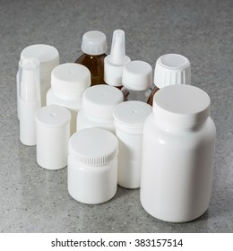 Jars, bottles plastic and Glass packaging for pharmaceuticals. Without labels and without labels.