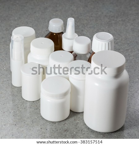 jars bottles plastic glass packaging pharmaceuticals stock photo