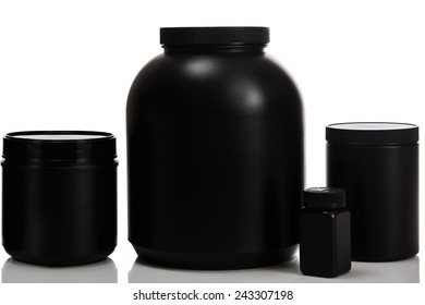 Jars with different food supplements