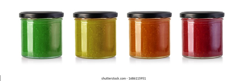 Jars of fruity jams isolated on white background. Preserved fruitson white background with clipping path