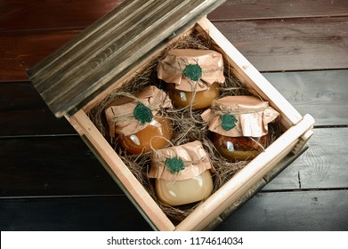 jars of honey in a gift box