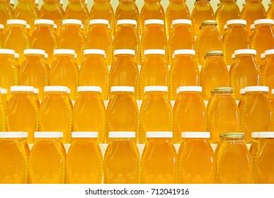 Jars of honey on shelves