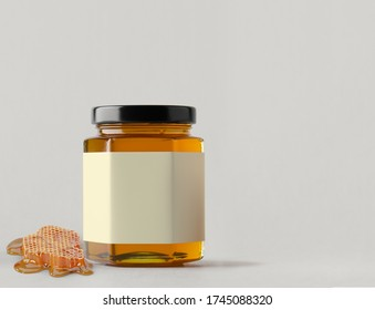 Jars of honey on a white background with honeycomb. Fronte view.