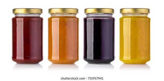 Jars of  jam isolated on white background