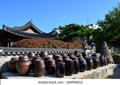 Jars in Namsangol Hanok Village, Seoul, South Korea