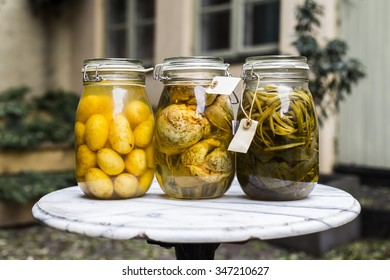 Jars with pickled food