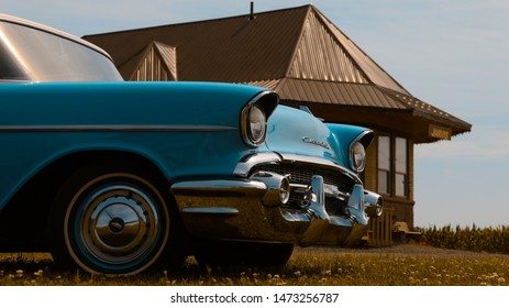 Jarvis Canada, August 3 2019: Chevrolet Bel Air Sedan- Parked In Front Of Old Train Station