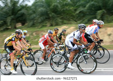 JASIN, MELAKA, MALAYSIA - FEBRUARY 26 : The largest group of cyclists from various teams cycle during Stage 3 of the Tour de Langkawi from Melaka to Parit Sulong on February 26, 2012 in Melaka, Malaysia.
