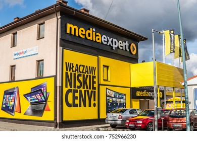Jaslo, Poland, October 31, 2017: Mediaexpert on Pope John Paul II street, located in Podkarpackie Voivoidship, Media Expert is dynamically developing network of electromarkets on Polish market