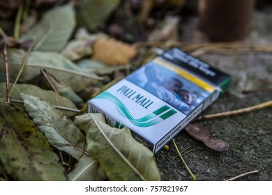 Jaslo, Poland, October 31, 2017 pack of Pall Mall cigarettes, worn and thrown away, lusts health of man and nature, Pall Mall is brand owned by British American Tobacco plc BAT