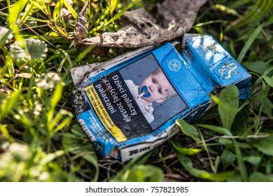 Jaslo, Poland, October 31, 2017 pack of P&S, Parker & Simpson cigarettes, worn and thrown away, lusts health of man and nature, PS is brand owned by Imperial Brands plc formerly Imperial Tobacco Group