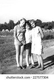 JASLO,POLAND CIRCA 1964 : vintage photo of sisters and brother outdoor