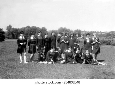 JASLO,POLAND - CIRCA 1965 : vintage photo of group girls outdoor