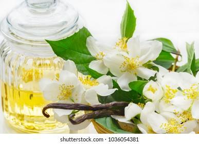 Jasmine flowers, jasmine oil, and vanilla beans