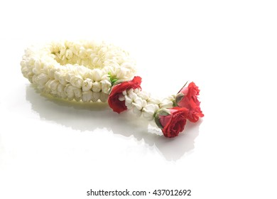 Jasmine garland, steering wheel of jasmine flower, symbol of Mother's day in thailand, to offer the monk or buddha
