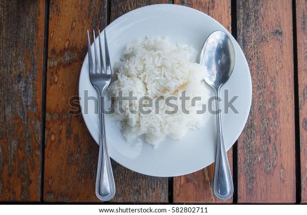 jasmine rice on white dish