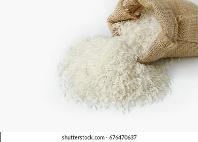 Jasmine rice in sackcloth on white background.