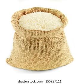 Jasmine rice in small burlap sack