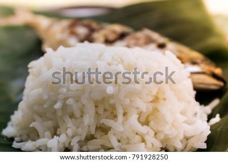 Jasmine Rice Top On Banana Leaf Stock Image | Download Now