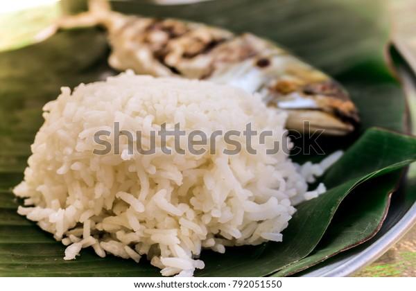 Jasmine Rice Top On Banana Leaf Stock Photo (Edit Now) 792051550