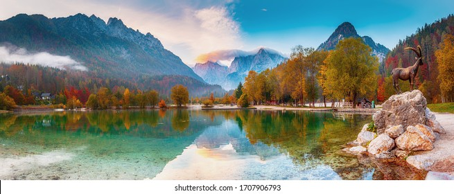 Jasna lake with beautiful reflections of the mountains. Triglav National Park, Slovenia