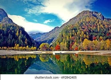 Jasna lake, Kranjska Gora, Slovenia, Europe.