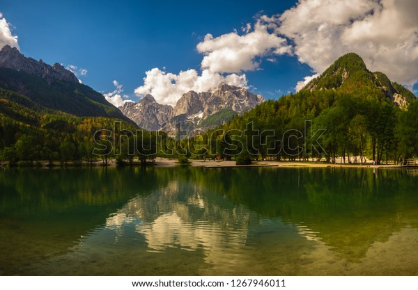Jasna Lakesloveniareflections Mountains Crystal Clear Lake