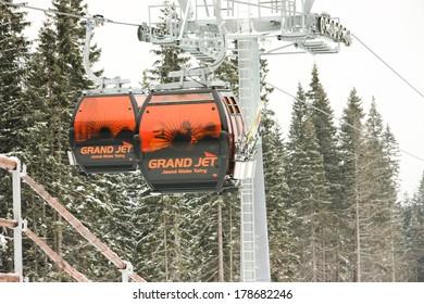 JASNA, SLOVAKIA - February 14: Modern cableway, Funitel system, in ski resort Jasna - Low Tatras mountains