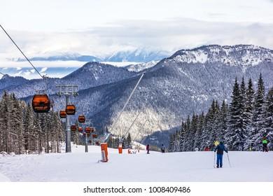 JASNA, SLOVAKIA - JAN 18, 2018: Winter mountain ski resort Jasna, cable car, Slovakia