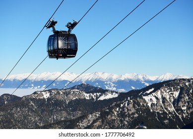 JASNA, SLOVAKIA - JANUARY 22:  The cabins of cableway on Chopok station in Jasna Low Tatras. It is the largest ski resort in Slovakia with 49 km of pistes on January 22, 2017 in Jasna, Slovakia