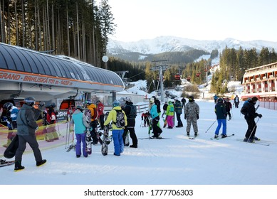 JASNA, SLOVAKIA - JANUARY 22:  The skiers and Brhliska cableway station in Jasna Low Tatras. It is the largest ski resort in Slovakia with 49 km of pistes on January 22, 2017 in Jasna, Slovakia