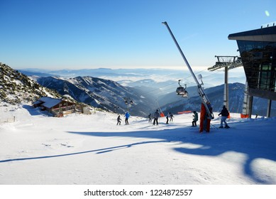 JASNA, SLOVAKIA - JANUARY 23:  The skiers and Rotunda cableway on Chopok in Jasna Low Tatras. It is the largest ski resort in Slovakia with 49 km of pistes on January 23, 2017 in Jasna, Slovakia