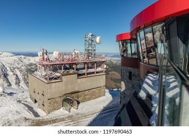 JASNA, SLOVAKIA - October 05, 2018. Jasna, cableway building under the Chopok mount, Nizke Tatry, Low Tatras, Low Tatra mountains, Slovakia