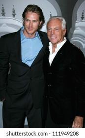 Jason Lewis and Giorgio Armani at the Giorgio Armani Prive Show to celebrate the Oscars. Green Acres, Los Angeles, CA. 02-24-07